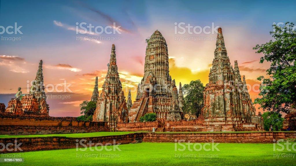 Landscape Ayutthaya Historical Park in Ayutthaya stock photo