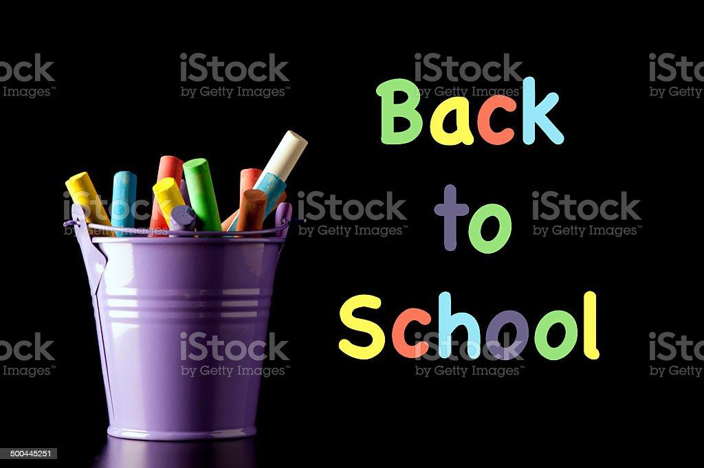 Landscape Back To School Chalks Bucket stock photo