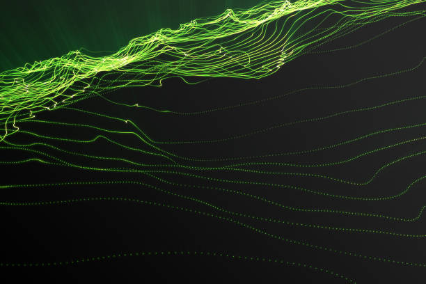 landscape background. cyberspace landscape grid. 3d technology. abstract green landscape on black background with light rays. 3d rendering - dotted line stock photos and pictures