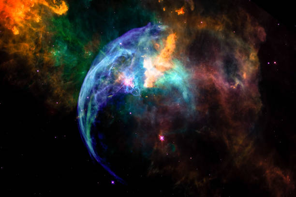 landscape background of fantasy alien galaxy nebula with colorful glowing spherical clouds and stars. the elements of this image furnished by nasa. - creation stock photos and pictures