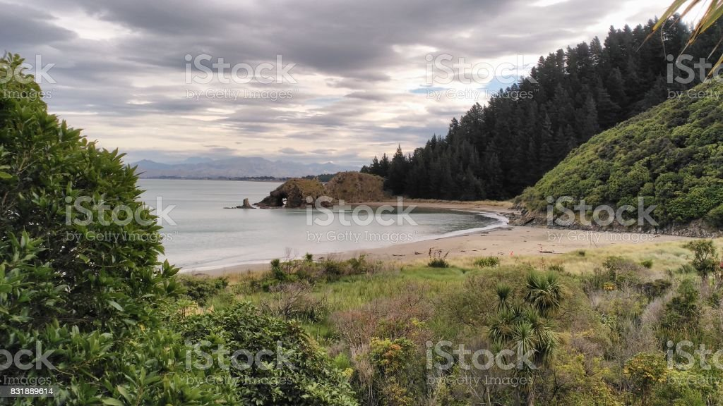 Landscape beach Rarangi, Blenheim, New Zealand stock photo