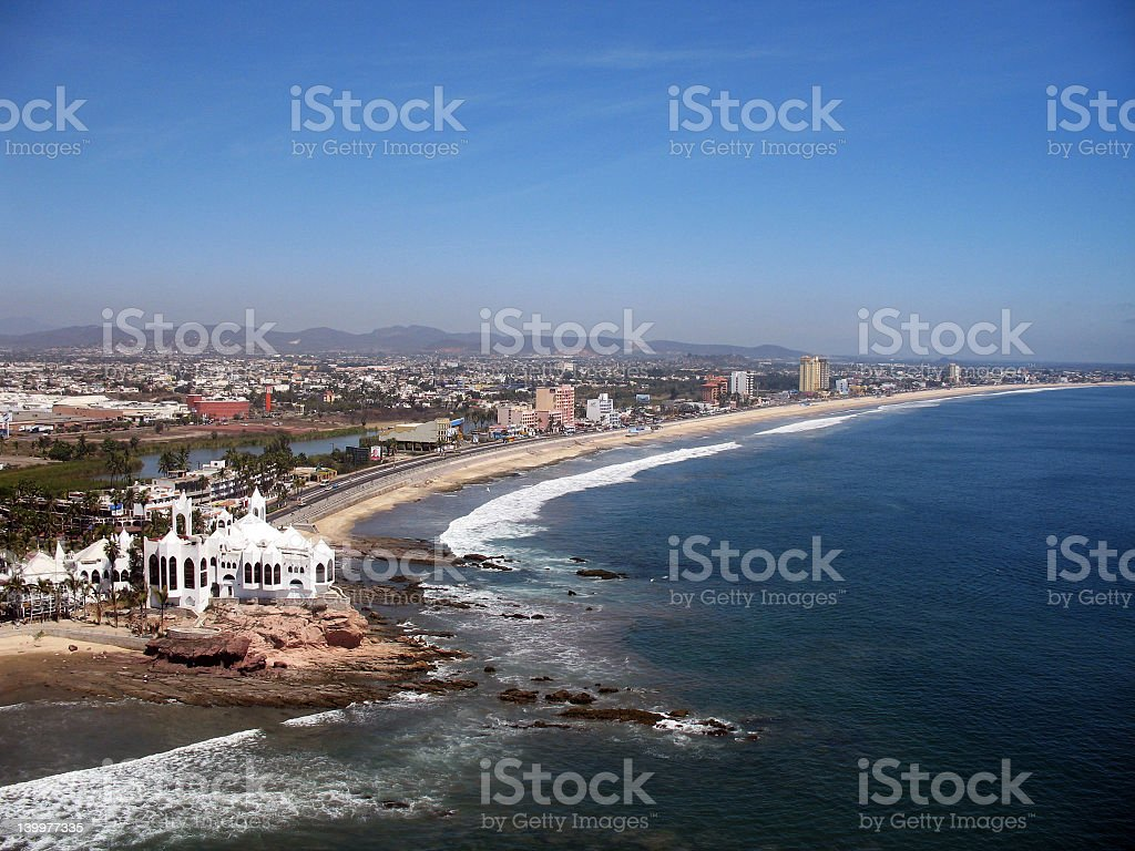 Landscape beach view of Mazatlan Mexico on a sunny day stock photo