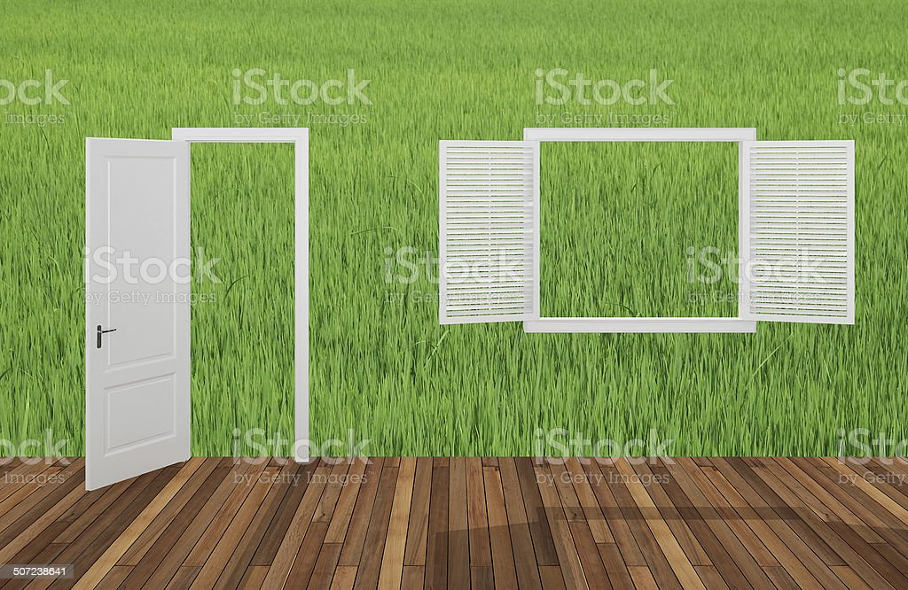 Landscape behind the opening door and window,3D stock photo