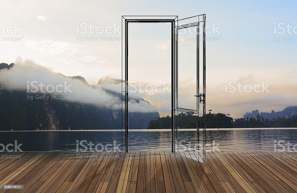 Landscape behind the opening door,3D stock photo