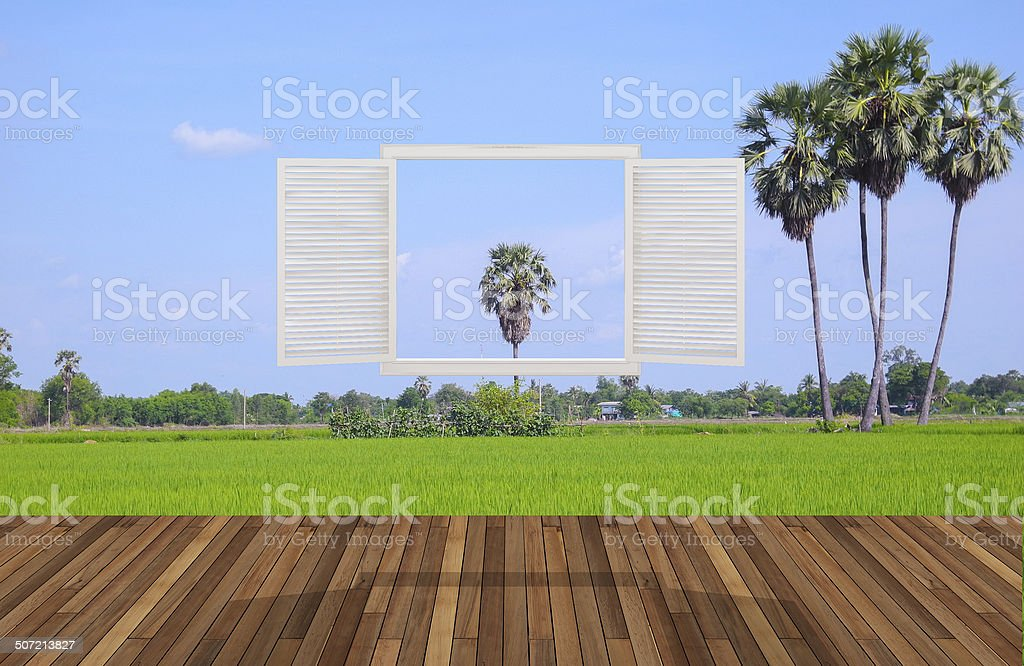 Landscape behind the opening window,3D stock photo
