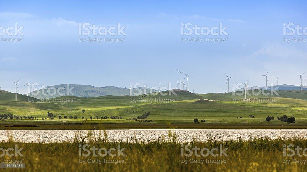landscape, blue sky, clouds,lake,windmill royalty-free stock photo