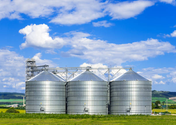 landscape. bright nature. elevator. large aluminum containers for storing cereals in the background of blue sky and volumetric clouds - bin stock pictures, royalty-free photos & images