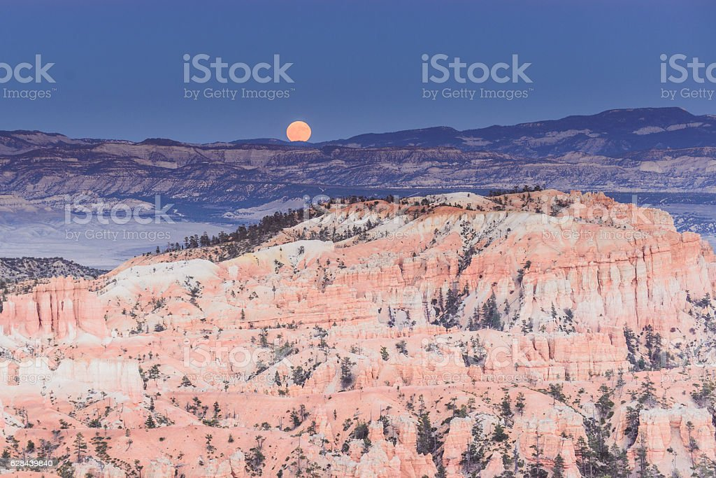 Landscape bryce canyon with moon stock photo