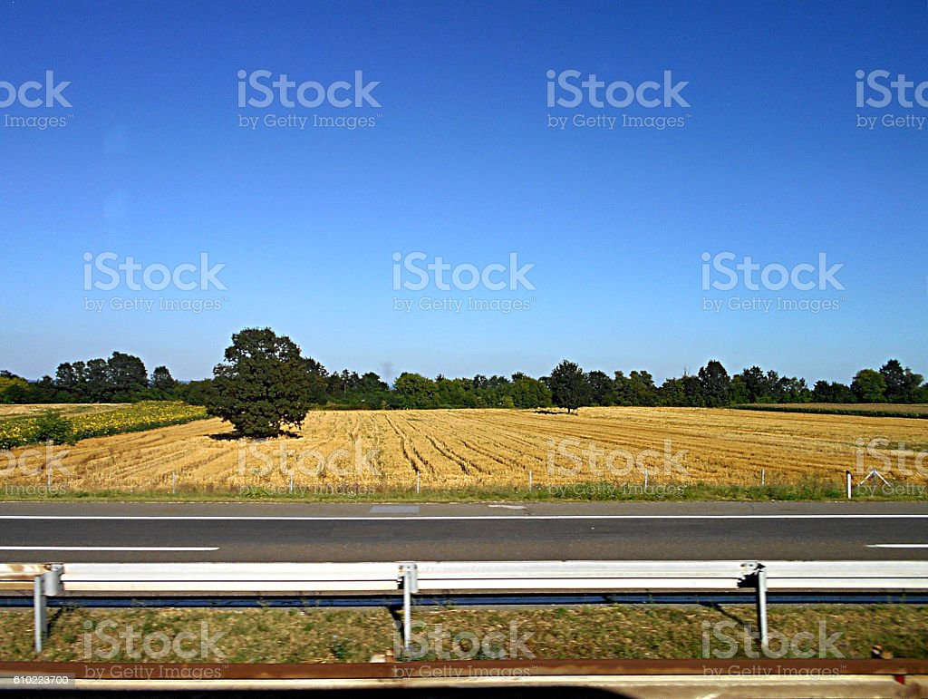 Landscape by the highway stock photo