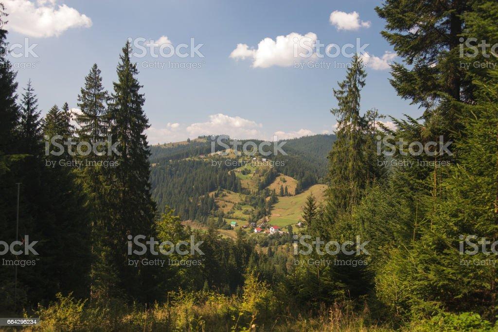 Landscape. Carpathians. The village of Vorokhta. stock photo