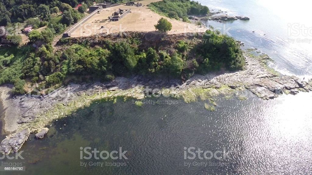 Landscape, cliff, fort and rivers in Chile royalty-free stock photo