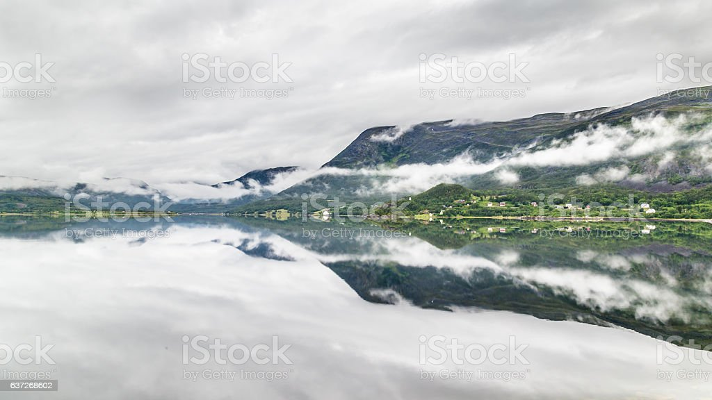Landscape coast road A6 in northern Norway stock photo