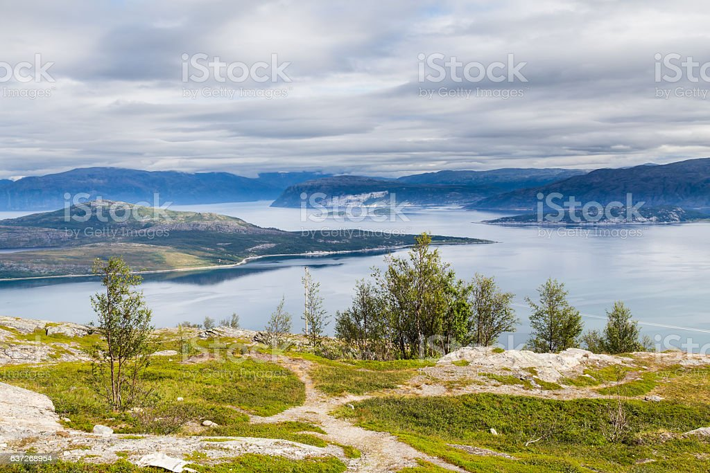 Landscape coast road E6 in northern Norway stock photo