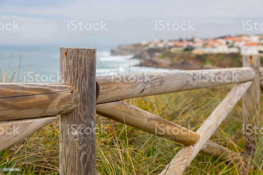 landscape coastline with wooden fance and plants stock photo