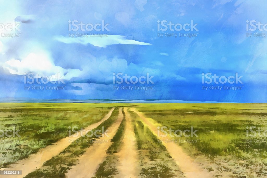 Landscape colorful painting with road vector art illustration
