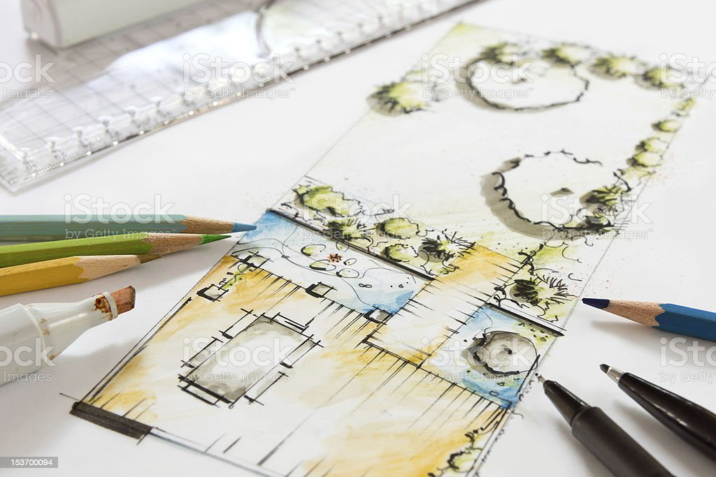 Landscape Design Sketch Of Small Garden Royalty Free Stock Photo
