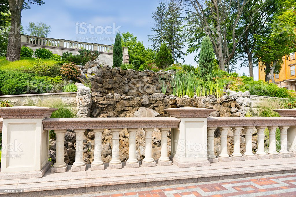 Landscape design with marble fence stock photo
