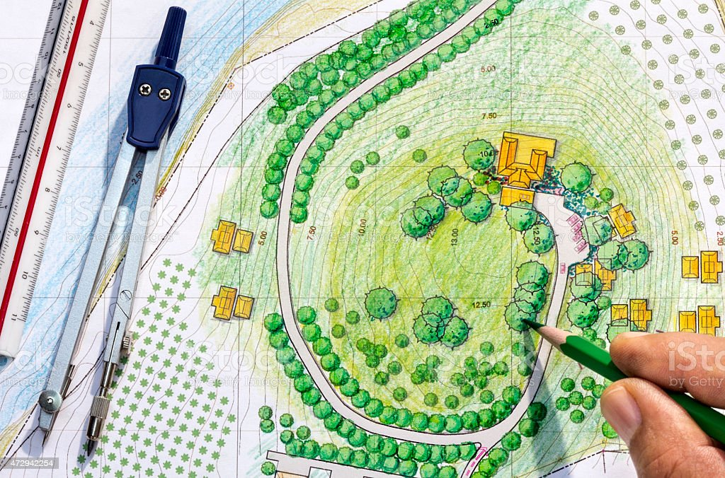Landscape Designs Blueprints stock photo