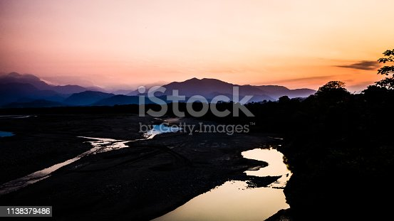 istock Landscape during the sunset in Villa Tunari, Bolivia. High contrast pic with the river and the mountains in the back 1138379486