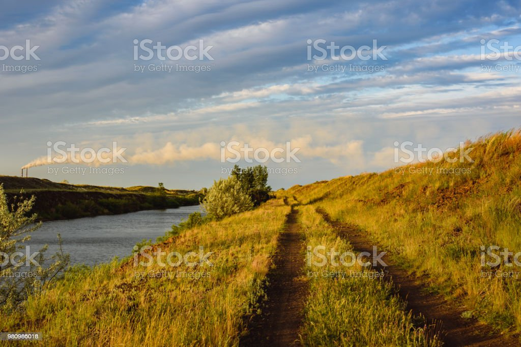 Landscape ecology and production of power, evening view of the green...