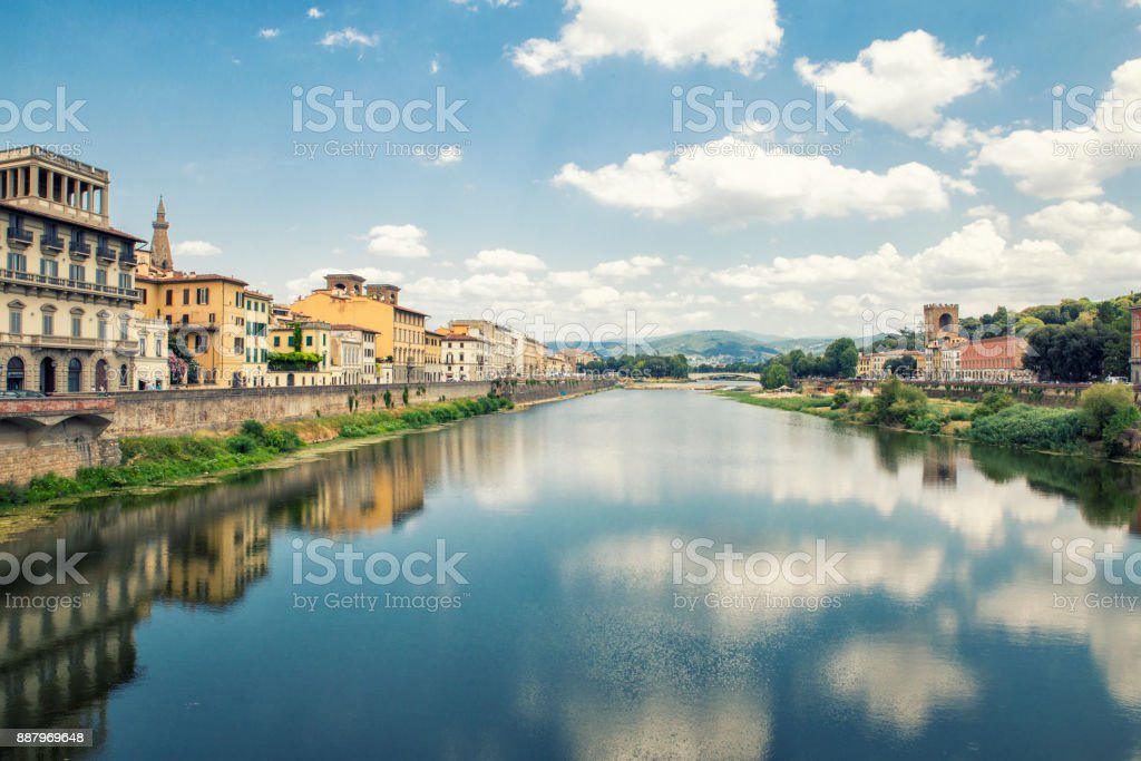 landscape  Florence,Italy. Reflections on  Arno river stock photo
