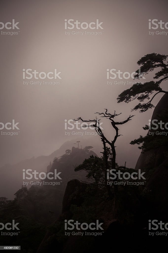landscape fogs mountains in Jiangxi, China stock photo