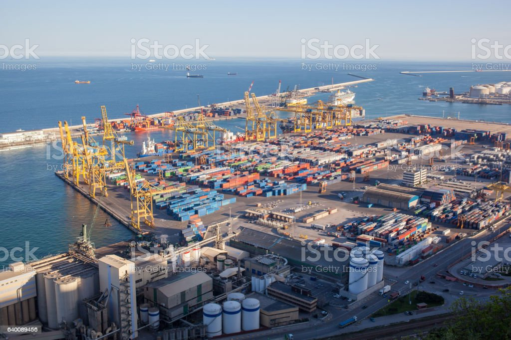 Landscape from bird view of industrial port. stock photo
