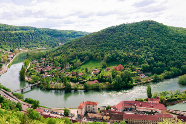 Landscape from Citadel of Besancon with River Doubs at Bourgogne stock photo