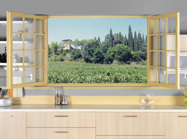 landschaft vom küchenfenster - landküche stock-fotos und bilder