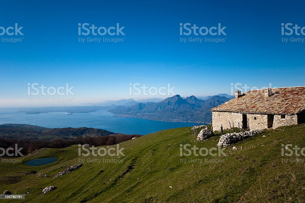 Landscape from Monte Baldo towards Lake Garda, Italy royalty-free stock photo