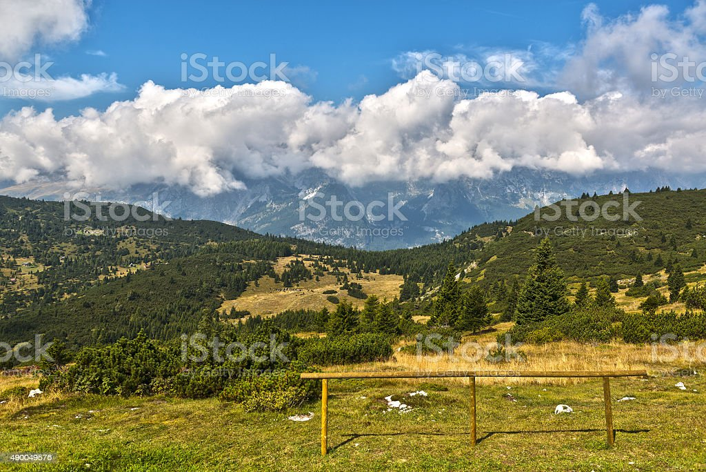 Landscape from Paganella highland stock photo