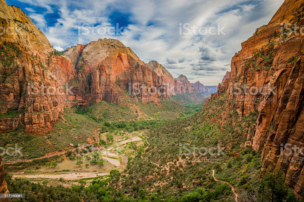 landscape from zion national park utah stock photo