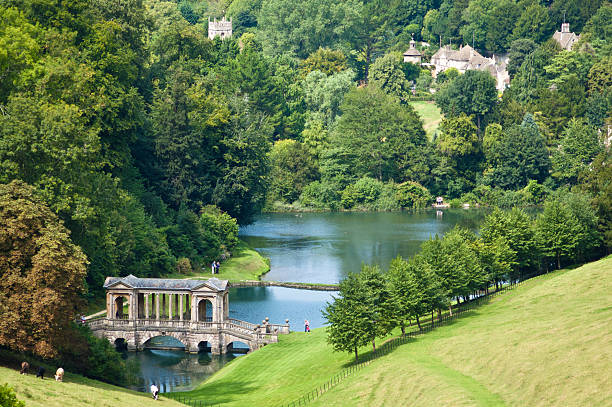 Landscape Garden Prior Park Landscape Garden in Bath, Somerset, UK. bath england stock pictures, royalty-free photos & images