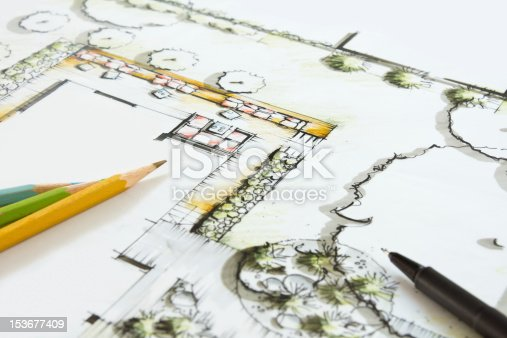 Landscape Architecture - Blueprint for a private Garten. Crayons and Pen lying on the Plan. Idea and Drawing is my own Work (Andreas Krappweis Private Gardens), Building, Ground and Garden is fictitious.