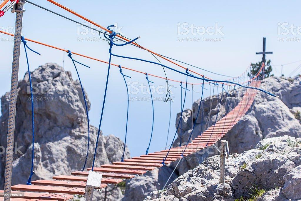 landscape hanging rope bridges in Mount Ai-Petri stock photo