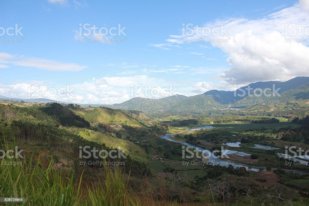 Landscape Hills and mountains in valley Orosi, Costa Rica stock photo