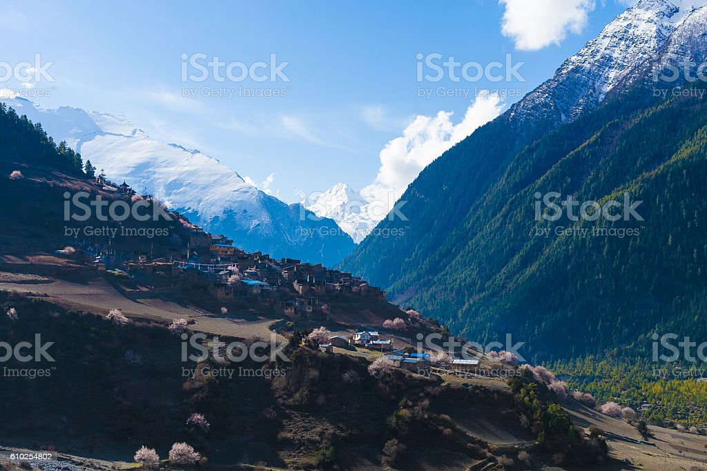 Landscape Himalays Mountains Spring.Asia Nature Morning Viewpoint.Mountain Trekking стоковое фото