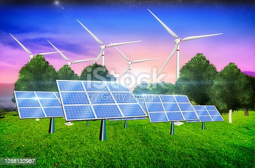 Landscape illustration with solar panels and windmil as a concept of clean energy. Environmental biodiversity in ecosystem concept. Renewable energies. Render 3D.