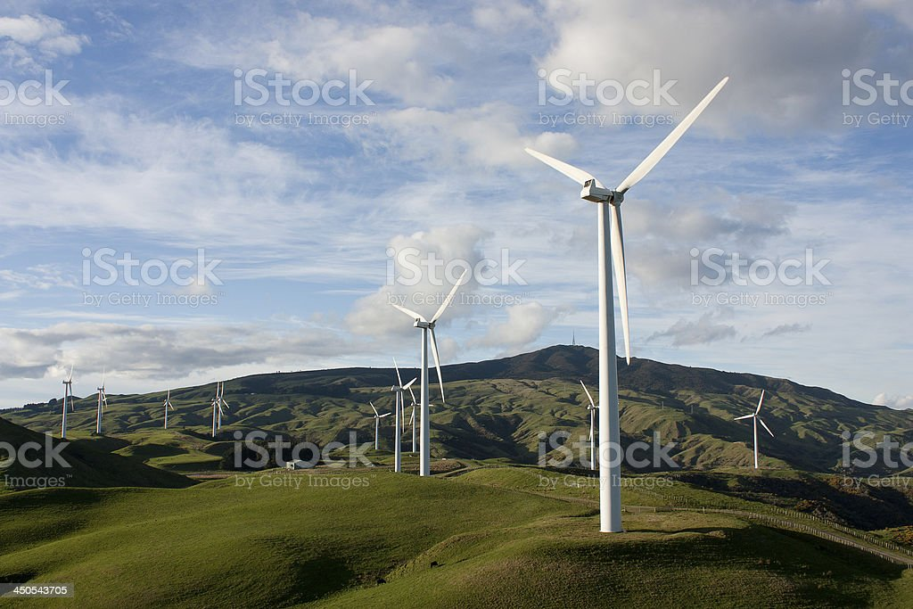 Landscape image featuring wind turbines royalty-free stock photo