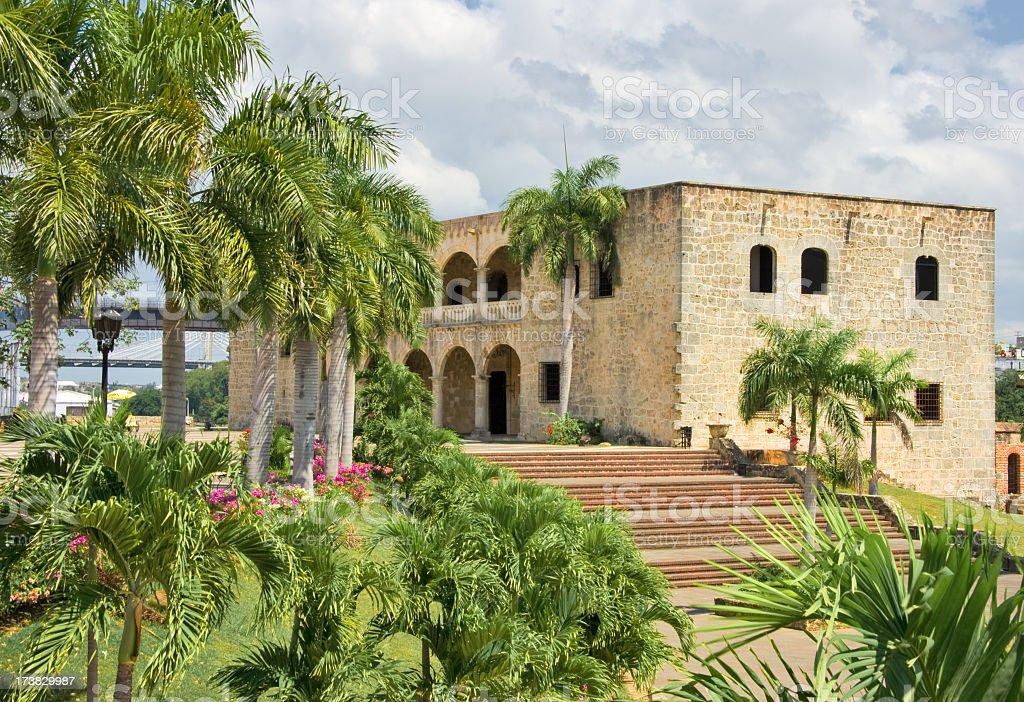 Landscape image of Alcazar de Colon in Santo Domingo stock photo