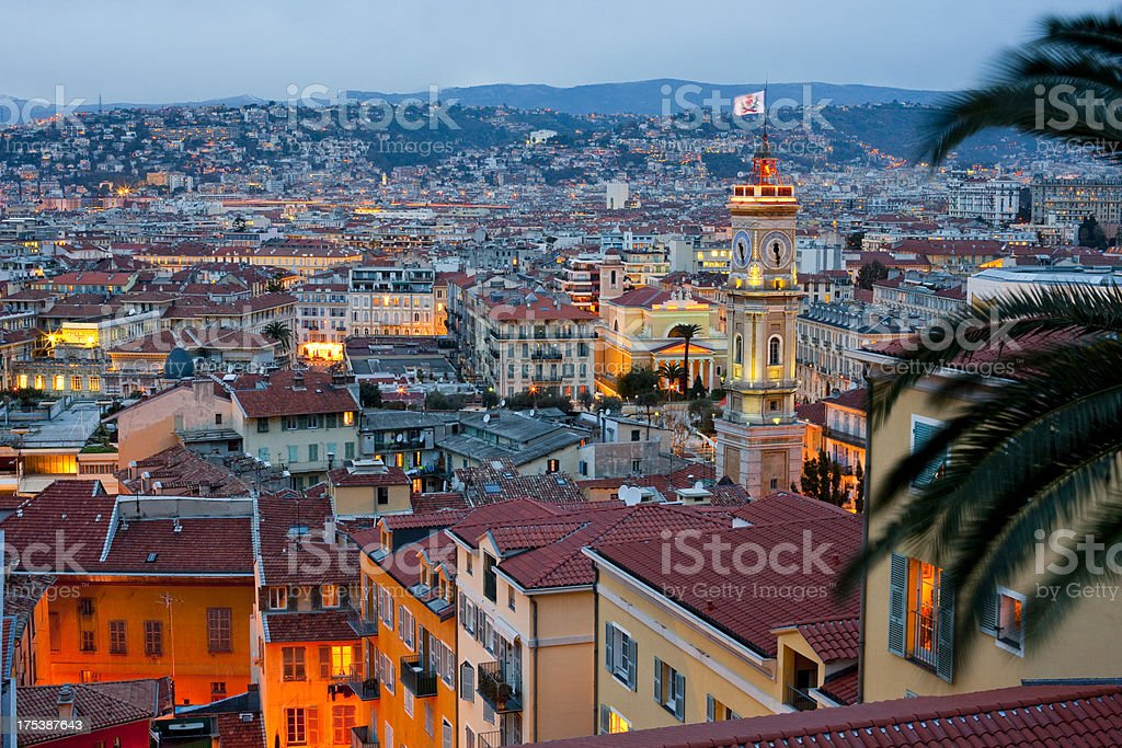 Landscape image of Cote D'azur, Nice at night stock photo