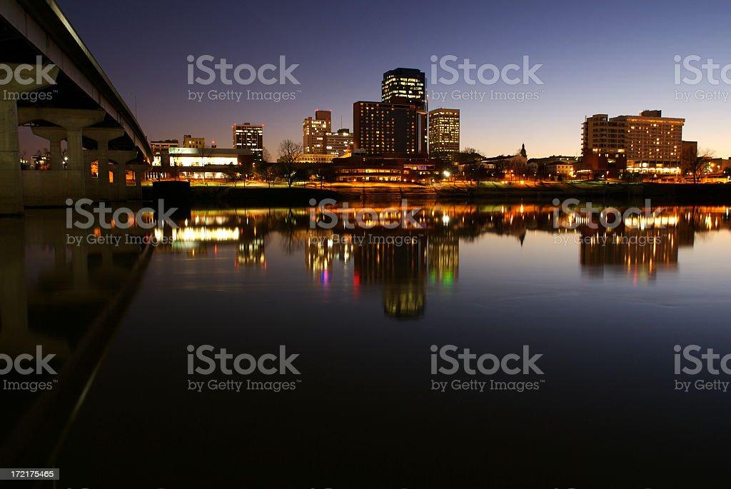 Landscape image of Midsize City skyline in the evening stock photo
