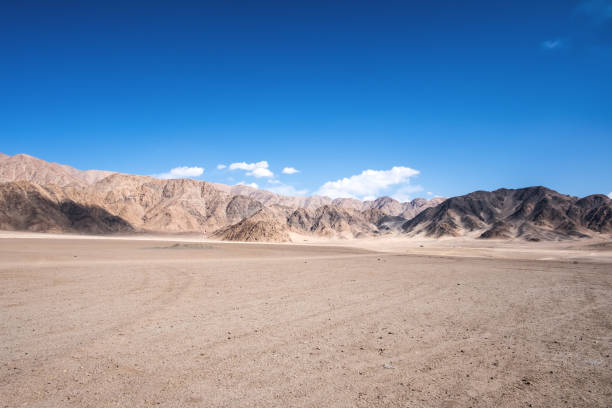 landscape image of mountains and blue sky background in ladakh , india - desert stock pictures, royalty-free photos & images
