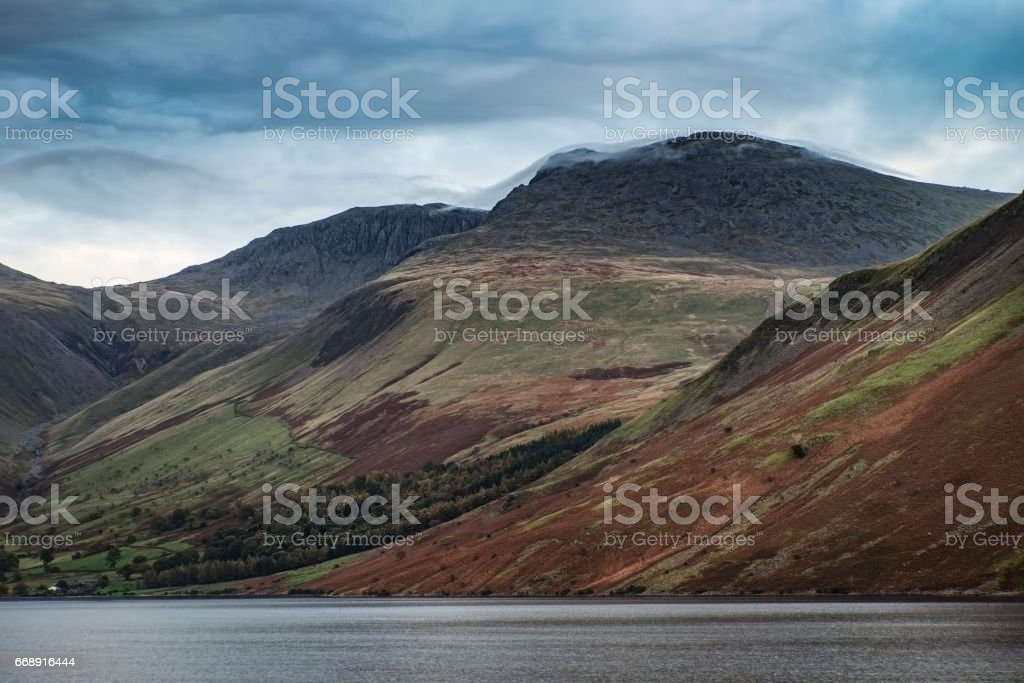 Landscape image of mountains around Wast Water in Lake District stock photo