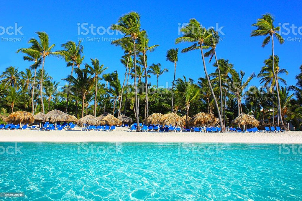 Landscape image of Punta Cana beach, Dominican Republic stock photo