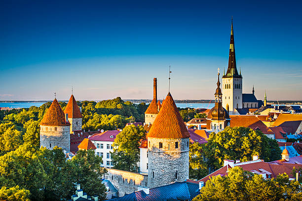 Landscape image of Tallinn Estonia on a clear day Dawn in Tallinn, Estonia at the old city from Toompea Hill. 2013 stock pictures, royalty-free photos & images
