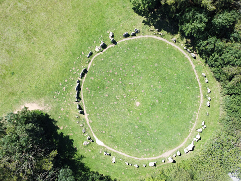 birds eye view of the kings men part of the rollright stones on the Oxfordshire Warwickshire border in England
