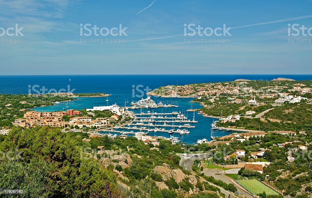 Landscape image of the town and harbor of Porte Cervo royalty-free stock photo