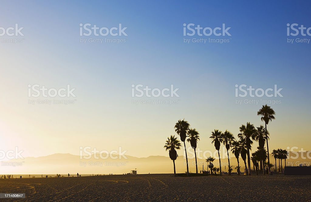 Landscape image of Venice Beach, California at sunset  stock photo