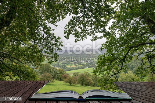 Beautiful landscape image of view from Precipice Walk in Snowdonia overlooking Barmouth and Coed-y-Brenin forest coming out of pages in magical story book
